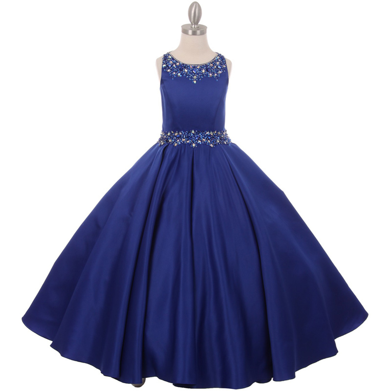 Primary image for Royal Blue Shimmering Hand Work Beading on the Long Length Satin Girl Dress