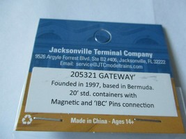 Jacksonville Terminal Company # 205321 Gateway 20' Standard Container N-Scale image 2