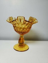 VINTAGE FENTON RICH AMBER COLORED THUMBPRINT COMPOTE, MINT CONDITION! - $24.74