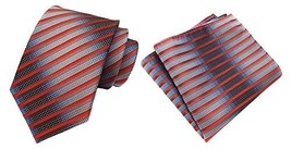 MOHSLEE Men Silver Orange Stripe Silk Tie Necktie Handkerchief Pocket Square Set image 1