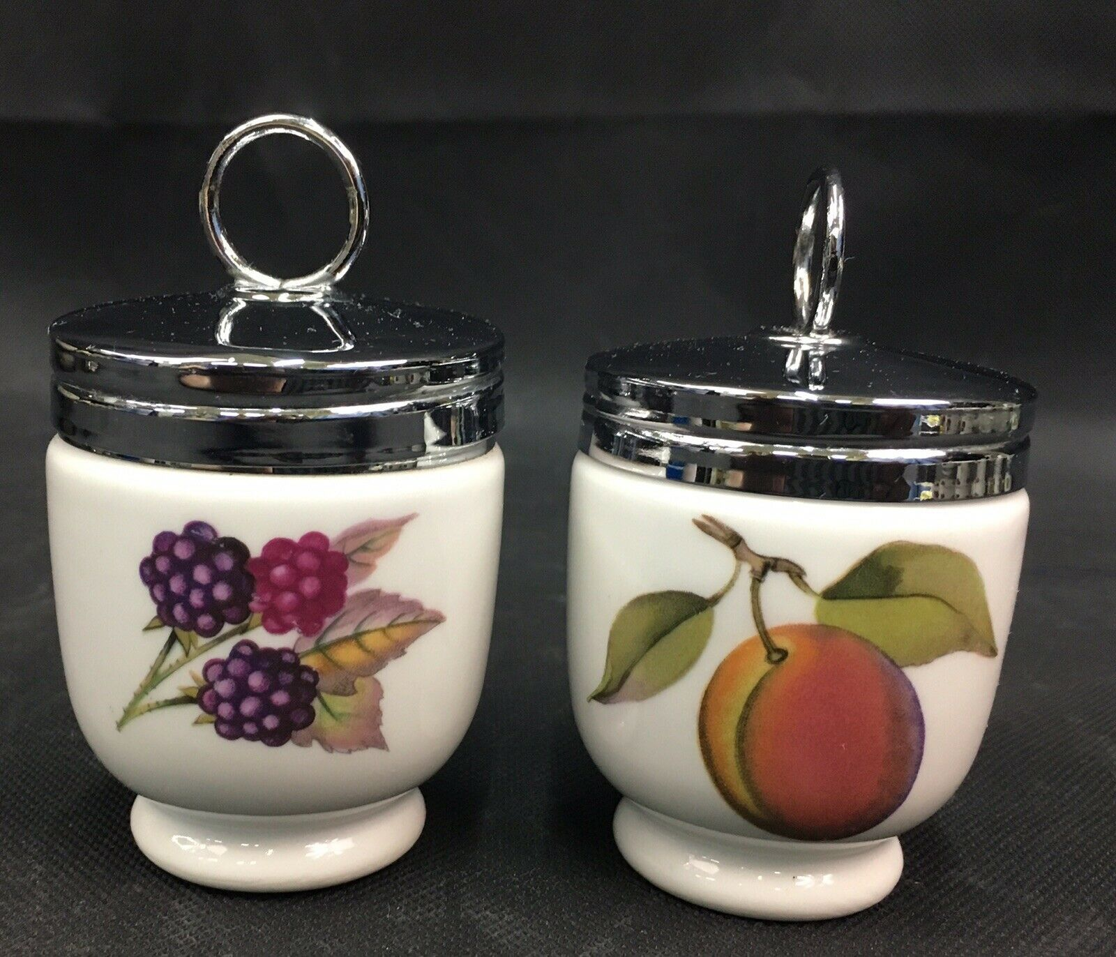 "Lot of 2 Royal Worcester ""Evesham"" Egg Coddlers Peach & Berries Made in England"