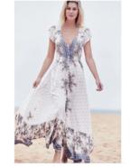 NWT LF Jaase Boho Gypsy Gemstone Paisley Printed Maxi Dress Blue Cream S... - $64.99