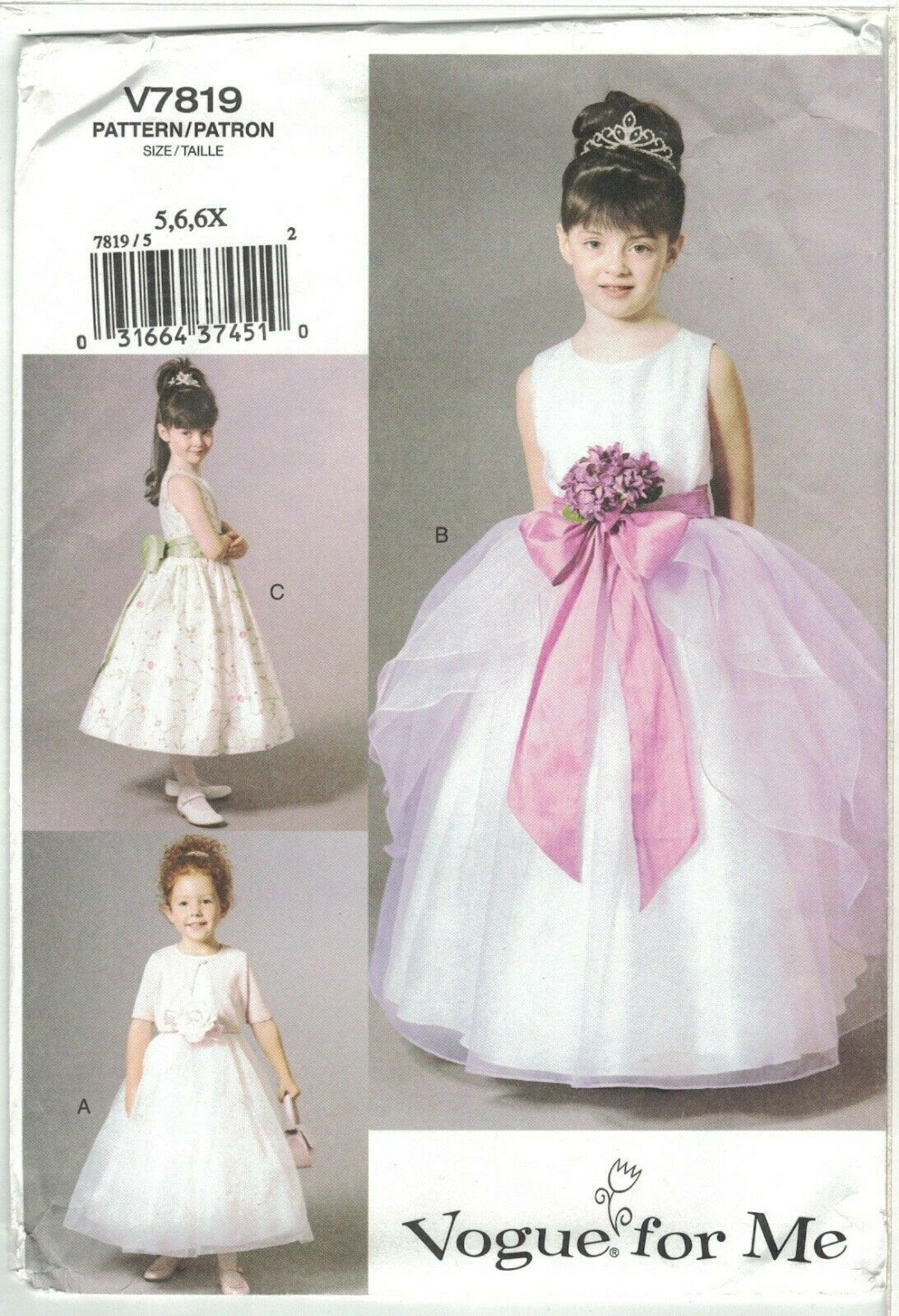 Primary image for Vogue 7819 Girl's Flowergirl Communion Princess Dress & Jacket Size 5 6 6X Uncut