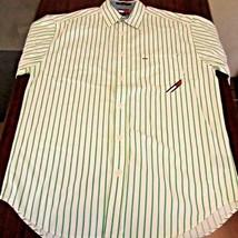 Vintage Mens Tommy Jeans Button Front Shirt M Green Vertical Stripe Shor... - $14.84