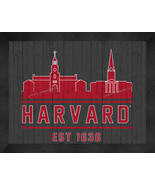 Harvard Crimson 13 x 16 Uscape with Retro Skyline Framed Print  - $39.95