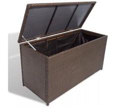 Garden Organiser Chest Box Poly Rattan Outdoor Storage Blankets Pillows ... - $188.42