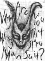 "Donnie Darko Frank the Rabbit  8.5"" x 11"" ink drawing horror  - $99.99"