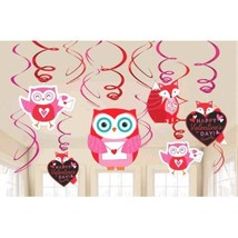 Woodland Friends Valentines Day 12 Ct Hanging Swirls Decorations Value Pack - $6.17