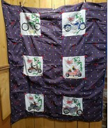 "Custom Handmade Hand Painted Harley Davidson Quilt 47 x 52"" One of a Kin... - $78.41"