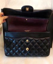 100% Authentic Chanel 2015 Black Quilted Lambskin Jumbo Classic DOUBLE Flap Bag  image 5