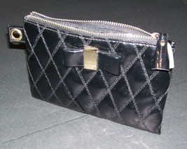 Victoria's Secret Black Quilted Cosmetic Makeup Travel Bag Bow - $7.91