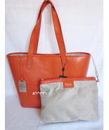 Ralph Lauren Leather Newton Classic Tote with Cosmetic Bag Orange NWT  - $158.00