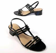 Womens Ralph Lauren Patent Leather Becki Strappy Heels Sandals 7 Black NWT - $49.99