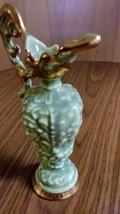 Unique Vintage  Mint Green Vase w  /22 KT Gold Trim Pitcher/Vase w/ Figurine Wom image 3