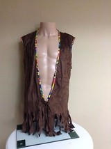 ADULT FAUX SUEDE FRINGED HIPPIE COSTUME VEST                            ... - $12.59