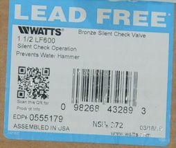 Watts LF600  Bronze Silent Check Valve 1 1/2 Inch 0555179 image 4