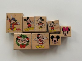 Disney Mickey Mouse Minnie Rubber Stampede Set of 8 Stampers Christmas - $18.69