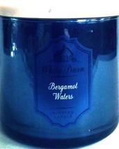 Bath & Body Works Bergamot Waters 3 Wick Candle Mirror Glass & Marble Lid - $29.39