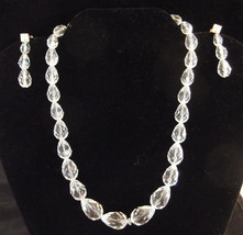 Vintage Clear Glass Bead Choker Necklace & Earrings Set  1950s 1960s MCM - $13.85