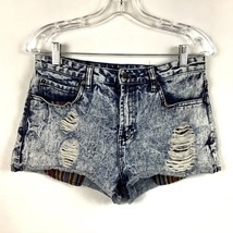 Forever 21 Womens Juniors Sz 28 Shorts Denim Jean Destroyed Holes High Rise - $19.89