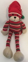 World Market Kitty Cat Christmas long Plush red green beige stripes sant... - $14.84