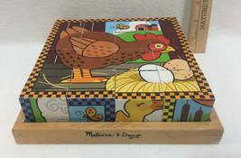"Melissa & Doug Block Jigsaw Puzzle Farm Animals Cube w/ Wooden Base Tray 8"" - $12.86"