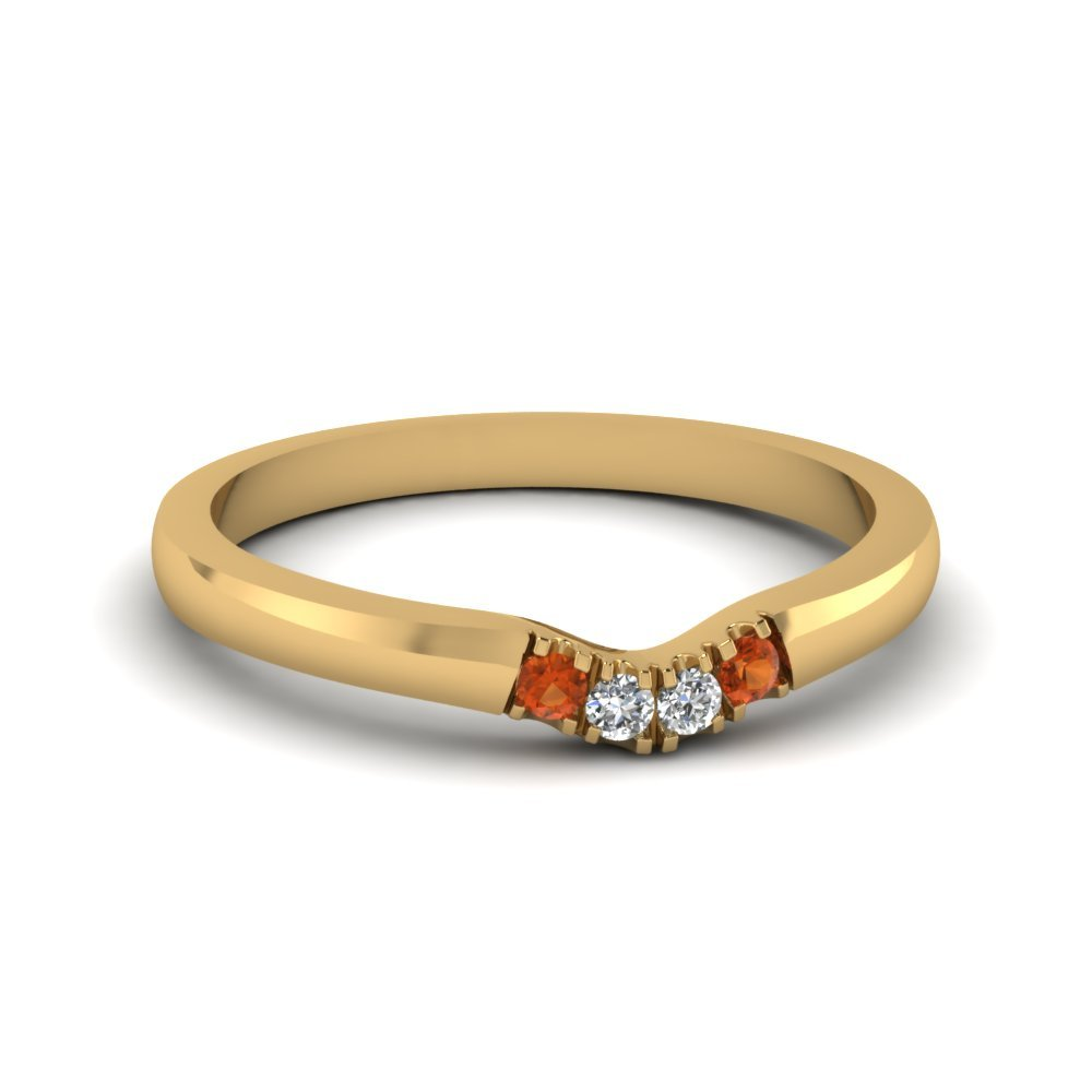 Primary image for Classic Orange Sapphire & CZ Diamond 14K Yellow Gold FN Curved Wedding Band Ring