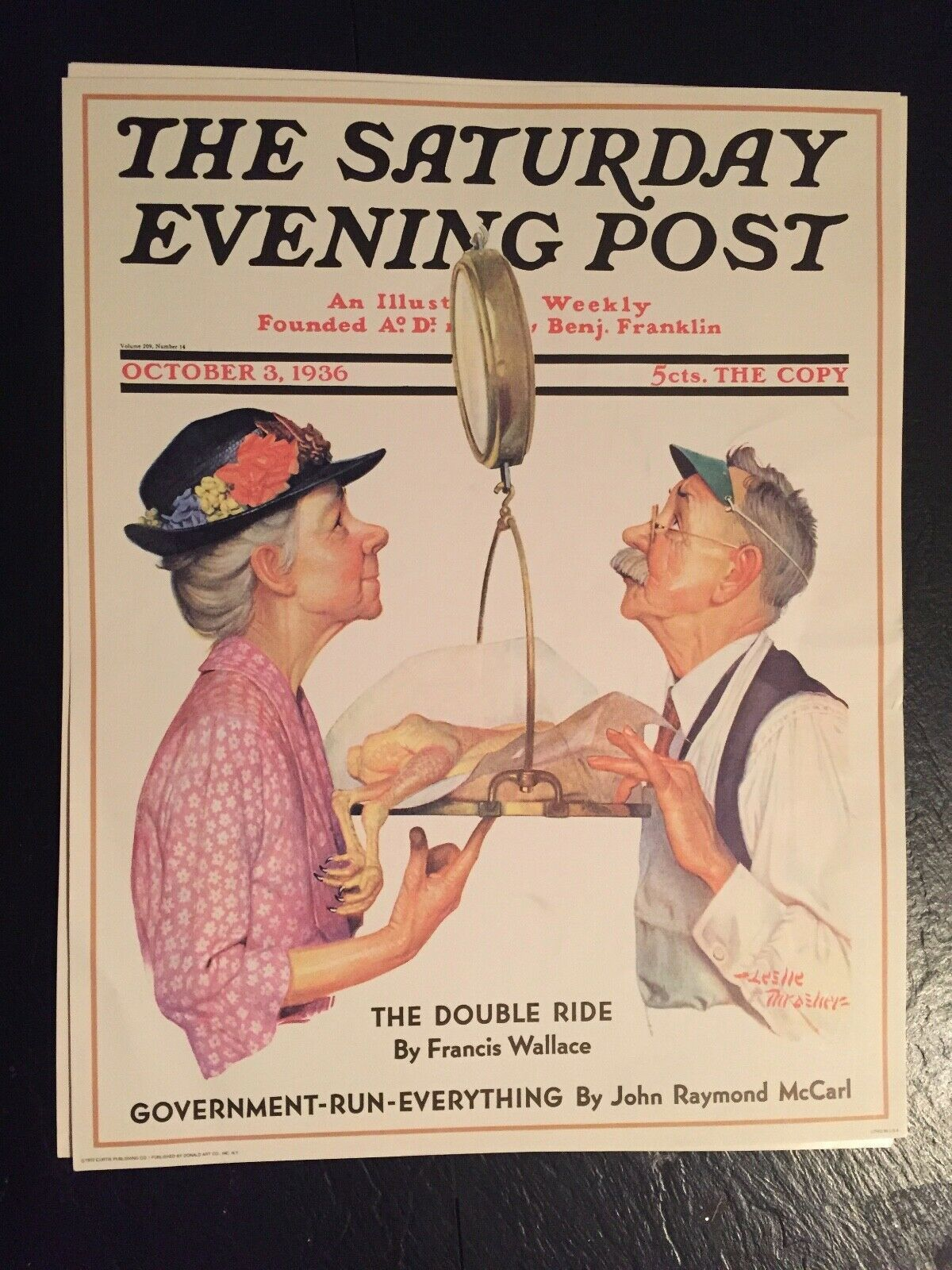 Primary image for VTG Norman Rockwell Art Print Saturday Evening Post Government Run Everything