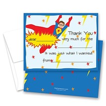 20 Super Hero Kids Fill-in Birthday Thank You Cards - $12.95