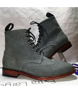 Handmade Grey Color Suede Wing Tip Brogue Ankle High Leather Boots For M... - $159.97+
