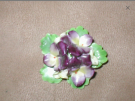Vintage STAFFORDSHIRE Bone China violets Floral Brooch - $21.73
