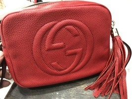 GUCCI SOHO SMALL LEATHER DISCO BAG CROSSBODY MSRP $1190 RED READ DESCRIP... - $791.99