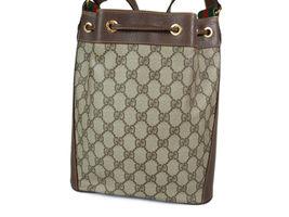 GUCCI GG Web PVC Canvas Leather Browns Drawstring Shoulder Bag GS2171 image 3