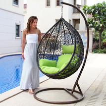 Patio Wicker Swing Chair Hanging Chair Hammock Stand Outdoor Egg Chair F... - $569.00