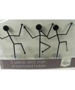 "Stick Man Stickman Photo Holder Black Silver Base 3 Piece Modern NEW 4"" ... - $9.74"