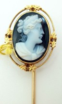 10K Gold Oval Stone Genuine Natural Cameo Stick Pin (#C2668) - $150.00