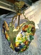 Important Rare French 1900 Art Deco Nouveau Ceiling Lamp Chandelier Glas... - $1,000.00