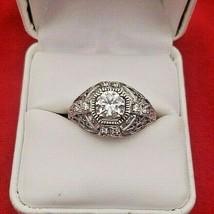 Vintage Sterling Silver Filigree Rhinestone Diamond Ring  (#6172) - $69.00