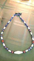 Vintage Chevron  Glass trade bead Necklace 20 inch Men Woman Tribal - $28.88
