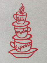 """Mocha Espresso Latte Wood Red Stacked Coffee Cups 16"""" Laser Wall Hanging... - $24.95"""