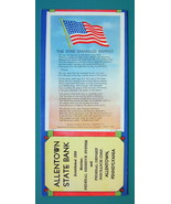 1940s INK BLOTTER AD - Allentown PA Bank & US Flag Star Spangled Banner ... - $4.49