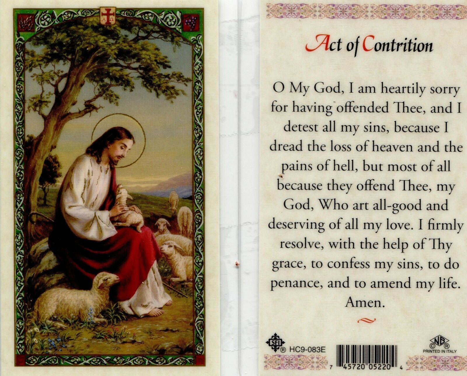 Primary image for Act of Contrition Holy Card - EB186 - My God I am Heartily Sorry - Top Sellers