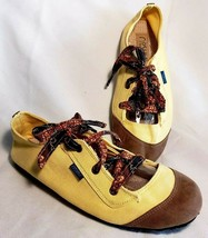 Anthropologie Noshu Womens Sz 10 Lace Up Flats Lemon Yellow Vegan Bali B... - $32.65