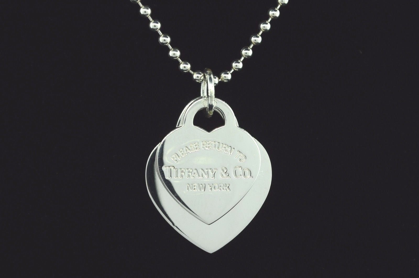 TIFFANY & CO. Sterling Silver  Medium Return To Tiffany & Co. Double Heart 24""