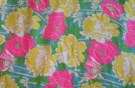 "Vintage craft fabric pink yellow flowers two pieces 32""x 58"" & 21"" x 58"" - $99.99"