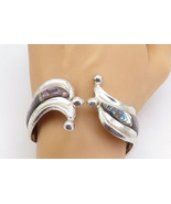 MEXICO 925 Silver - Vintage Abalone Shell Swirl Bypass Cuff Bracelet - B... - $177.85