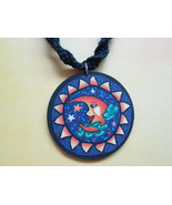 Handmade Black Hemp Necklace with Awesome Clay Sun and Moon Pendant - $16.00
