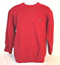 Tommy Hilfiger Mens Sweater Sz L Red Heavy Cotton Ribbed Trim L/S Crew Neck Top - $14.88