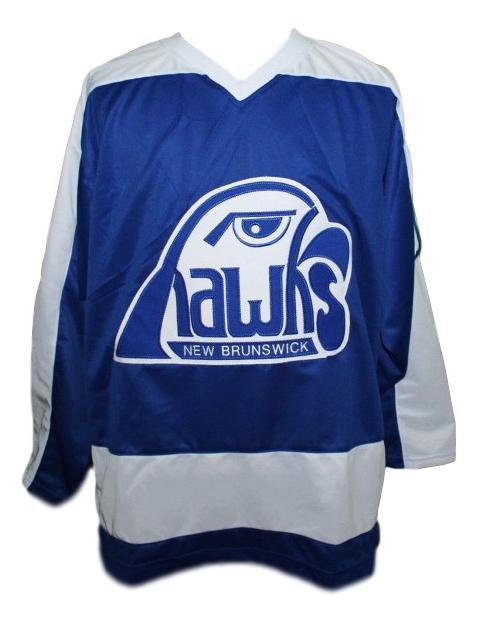 Steve larmer new brunswick hawks hockey jersey blue   1