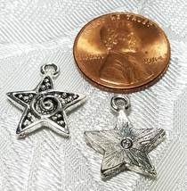 STAR WITH SWIRL FINE PEWTER PENDANT CHARM - 15mm L x 18mm W x 3mm D image 2